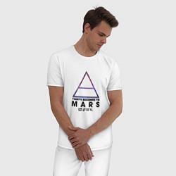 Пижама хлопковая мужская Thirty seconds to mars cosmos цвета белый — фото 2