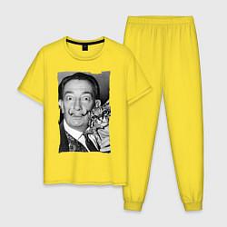 Пижама хлопковая мужская Дали с кошкой цвета желтый — фото 1
