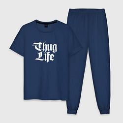 Пижама хлопковая мужская Thug Life: 2Pac цвета тёмно-синий — фото 1