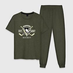 Пижама хлопковая мужская Pittsburgh Penguins: Est.1967 цвета меланж-хаки — фото 1