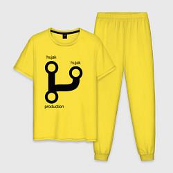 Пижама хлопковая мужская Раз, два и в продакшн цвета желтый — фото 1