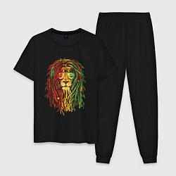 Пижама хлопковая мужская Rasta Lion цвета черный — фото 1