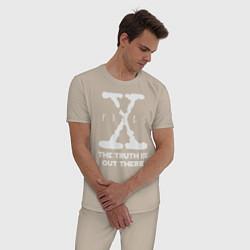 Пижама хлопковая мужская X-Files: Truth is out there цвета миндальный — фото 2