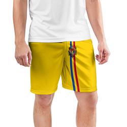 Шорты спортивные мужские Молдавия: лента с гербом цвета 3D-принт — фото 2