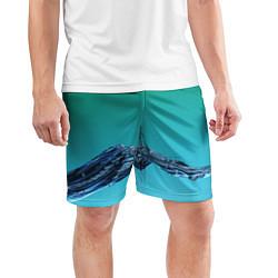 Шорты спортивные мужские Зеленая вода цвета 3D — фото 2