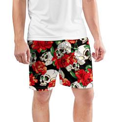 Шорты спортивные мужские Черепки и розы цвета 3D — фото 2