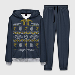 Костюм мужской Новогодний свитер Чужой цвета 3D-меланж — фото 1