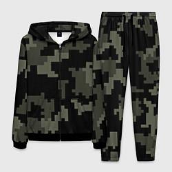 Костюм мужской Камуфляж пиксельный: черный/серый цвета 3D-черный — фото 1