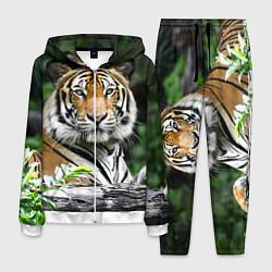 Костюм мужской Тигр в джунглях цвета 3D-белый — фото 1