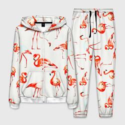 Костюм мужской Оранжевые фламинго цвета 3D-белый — фото 1