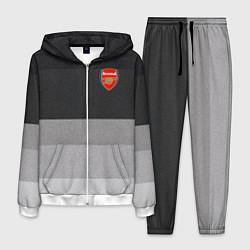 Костюм мужской ФК Арсенал: Серый стиль цвета 3D-белый — фото 1