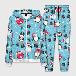 Костюм мужской Новогодние Пингвины цвета 3D-белый — фото 1