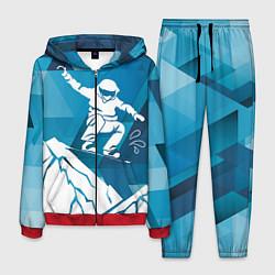 Костюм мужской Горы и сноубордист цвета 3D-красный — фото 1