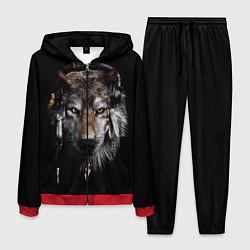 Костюм мужской Волк-шаман цвета 3D-красный — фото 1