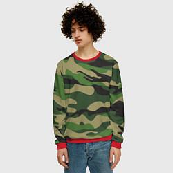 Свитшот мужской Камуфляж: хаки/зеленый цвета 3D-красный — фото 2