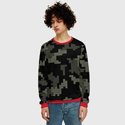 Свитшот мужской Камуфляж пиксельный: черный/серый цвета 3D-красный — фото 2