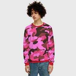 Свитшот мужской Камуфляж: розовый/коричневый цвета 3D-красный — фото 2