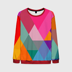 Свитшот мужской Разноцветные полигоны цвета 3D-красный — фото 1