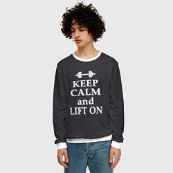 Свитшот мужской Keep Calm & Lift On цвета 3D-белый — фото 2