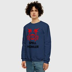 Свитшот хлопковый мужской Dark Elf Mage - Spell Howler цвета тёмно-синий — фото 2