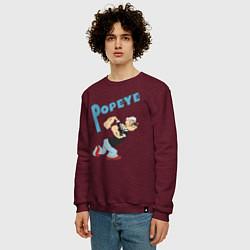 Свитшот хлопковый мужской Popeye цвета меланж-бордовый — фото 2