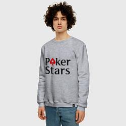 Свитшот хлопковый мужской Poker Stars цвета меланж — фото 2