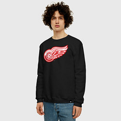 Свитшот хлопковый мужской Detroit Red Wings цвета черный — фото 2