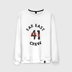 Свитшот хлопковый мужской Far East 41 Crew цвета белый — фото 1