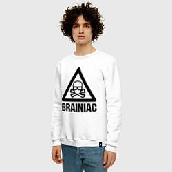 Свитшот хлопковый мужской Brainiac цвета белый — фото 2