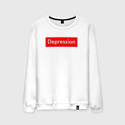 Свитшот хлопковый мужской Depression Supreme цвета белый — фото 1