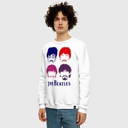 Свитшот хлопковый мужской The Beatles faces цвета белый — фото 2