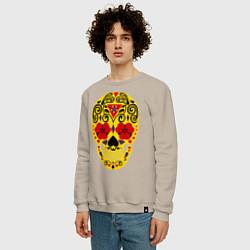 Свитшот хлопковый мужской Flower Skull цвета миндальный — фото 2