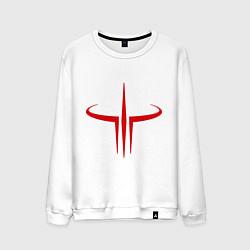 Свитшот хлопковый мужской Quake logo цвета белый — фото 1