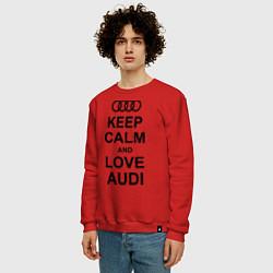 Свитшот хлопковый мужской Keep Calm & Love Audi цвета красный — фото 2
