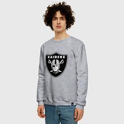 Свитшот хлопковый мужской Raiders цвета меланж — фото 2