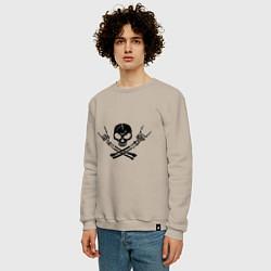 Свитшот хлопковый мужской Хардкор цвета миндальный — фото 2