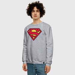 Свитшот хлопковый мужской Superman logo цвета меланж — фото 2
