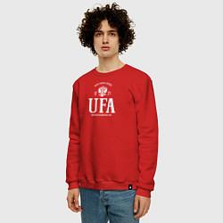 Свитшот хлопковый мужской Уфа Born in Russia цвета красный — фото 2