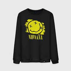 Свитшот хлопковый мужской Nirvana Smile цвета черный — фото 1