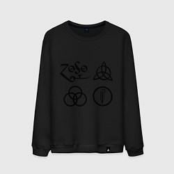 Свитшот хлопковый мужской Led Zeppelin: symbols цвета черный — фото 1