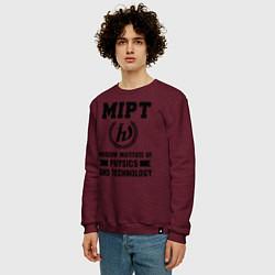 Свитшот хлопковый мужской MIPT Institute цвета меланж-бордовый — фото 2