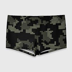 Мужские плавки Камуфляж пиксельный: черный/серый цвета 3D — фото 1