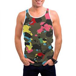 Майка-безрукавка мужская Цветной камуфляж цвета 3D-белый — фото 2
