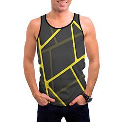 Майка-безрукавка мужская Желтая сетка цвета 3D-черный — фото 2