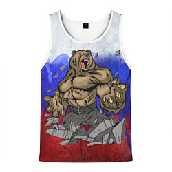 Майка-безрукавка мужская Русский медведь цвета 3D-белый — фото 1