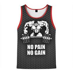 Майка-безрукавка мужская No pain, no gain цвета 3D-красный — фото 1
