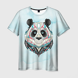 Футболка мужская Расписная голова панды цвета 3D — фото 1