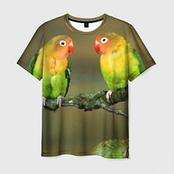Мужская 3D-футболка с принтом Два попугая, цвет: 3D, артикул: 10122075203301 — фото 1