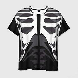Футболка мужская Скелет Ч/Б цвета 3D — фото 1