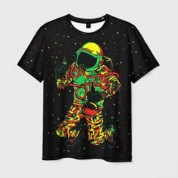 Футболка мужская Космонавт с кальяном цвета 3D — фото 1